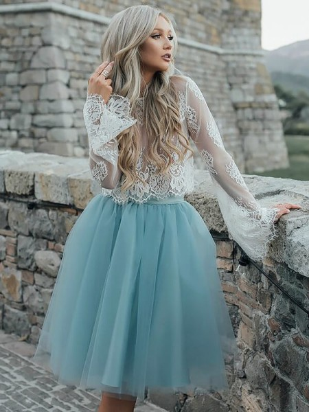 A-line/Princess Long Sleeves Scoop Tulle Short Dresses