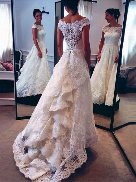 A-Line/Princess Sleeveless Scoop Lace Court Train Wedding Dress