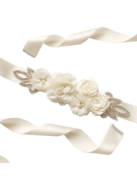 Fashion Bridal Satin Belt Rose Flower Wedding Belts