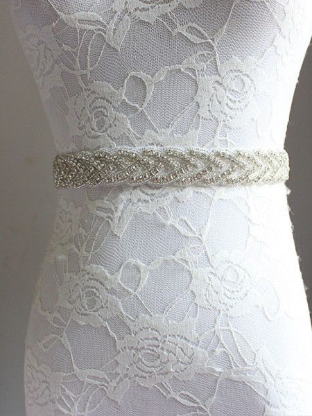 Women's Charming Satin Sashes Crystal Rhinestone Ribbon