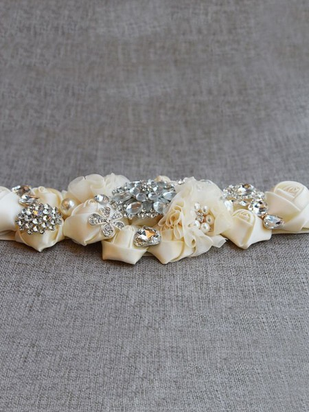 Women's Beautiful Satin Sashes With Rhinestones/Imitation Pearls