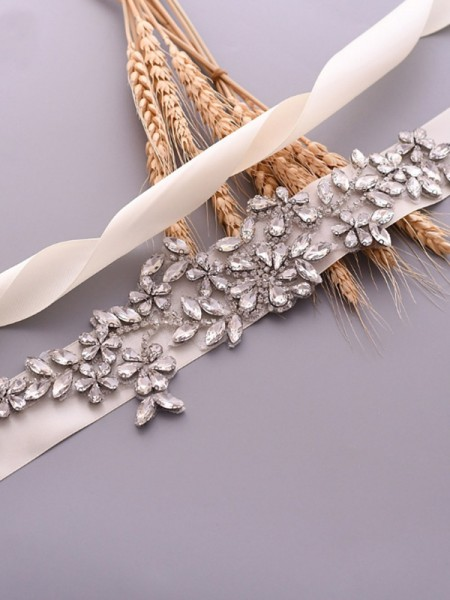 Women's Exquisite Satin Sashes With Rhinestones