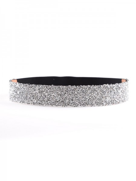 Women's Gorgeous Elastic Imitation Leather Sashes With Rhinestones