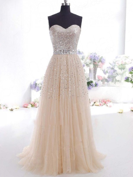 A-Line/Princess Sleeveless Sweetheart Tulle Long Dresses