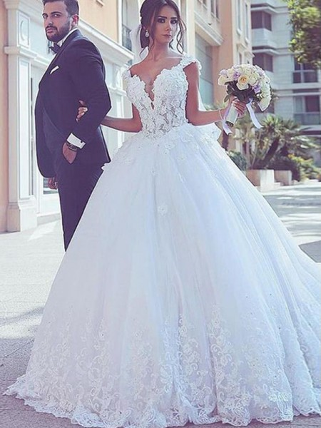 Ball Gown Tulle Sleeveless Sweetheart Long Wedding Dresses