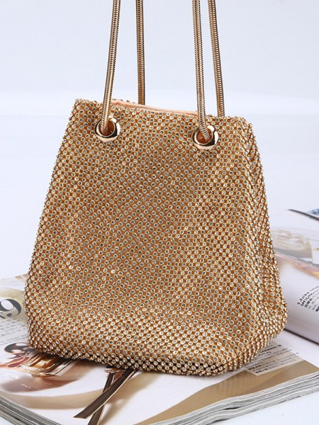 Women's Drilling Evening/Party Gold Crystal Handbags