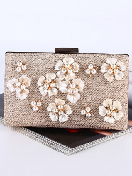Pearl Wedding Evening Party Purse With 3D Flowers Wedding Handbags