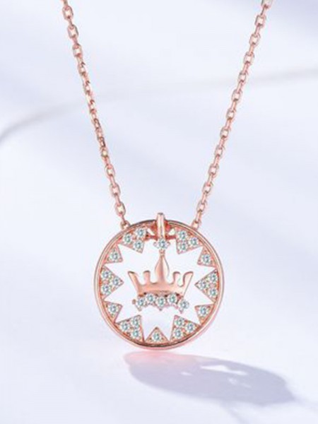 Fashion Women's Necklaces S925 Silver With Crown