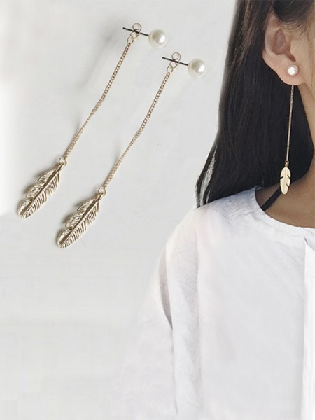 Vintage Long Chain Leaf With Pearl Ladies's Earrings