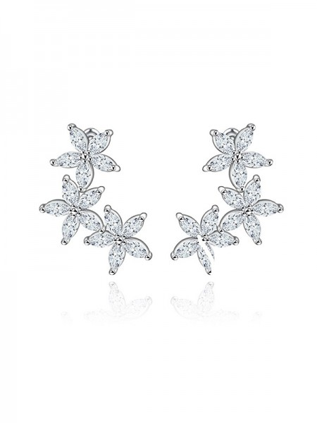 Beautiful Zircon With Cubic Zirconia Wedding Bride Earrings