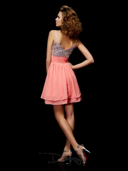 A-Line/Princess Sleeveless V-neck Beading Chiffon Short Dress