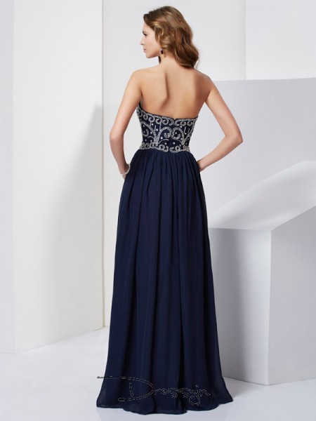 A-Line/Princess Sleeveless Strapless Beading Chiffon Floor-Length Dress