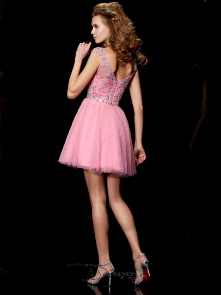 A-Line/Princess Sleeveless Bateau Beading Satin Short Dress