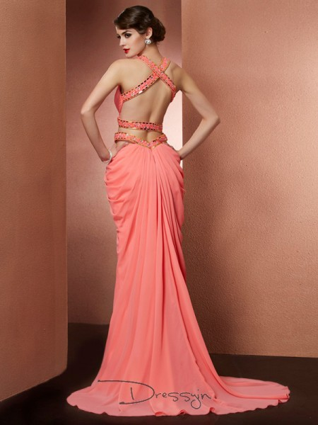 A-Line/Princess Sleeveless Halter Beading Chiffon Long Dress