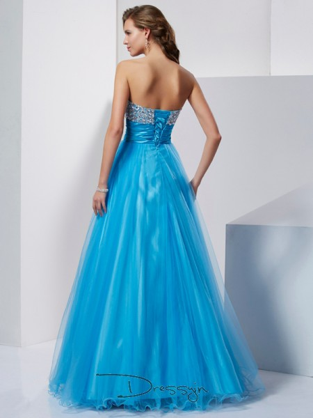 A-Line/Princess Sleeveless Sweetheart Beading Tulle Floor-Length Dress