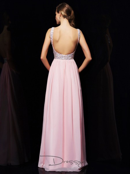 A-Line/Princess Sleeveless V-neck Straps Beading Chiffon Floor-Length Dress