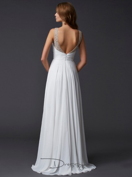 Sheath/Column Sleeveless Straps Pleats Chiffon Floor-Length Dress