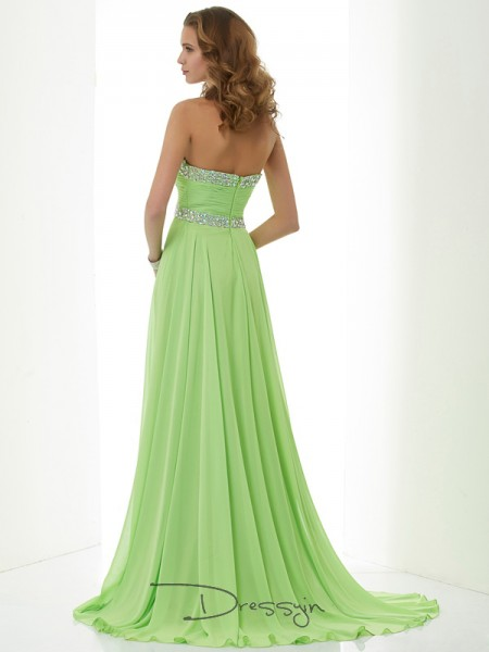 A-Line/Princess Sleeveless Sweetheart Beading Chiffon Long Dress
