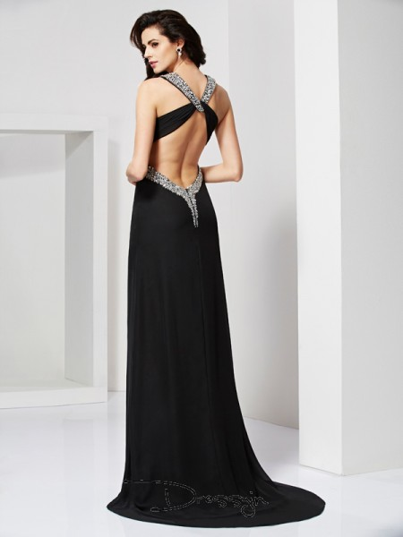 Sheath/Column Sleeveless Straps Beading Chiffon Long Dress