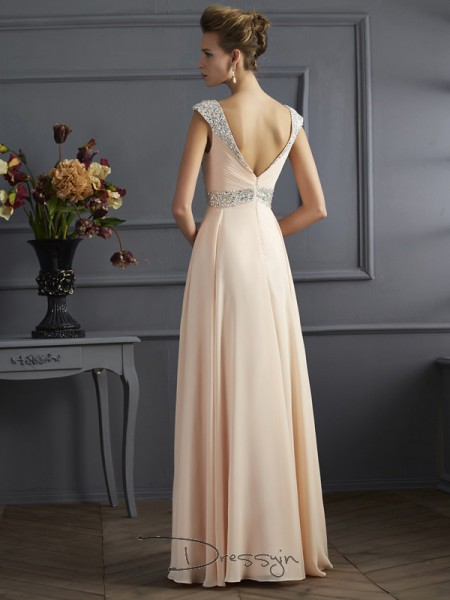 A-Line/Princess Sleeveless Straps Beading Chiffon Floor-Length Dress