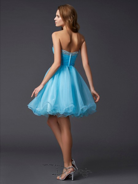 A-Line/Princess Sleeveless Sweetheart Beading Tulle Short Dress