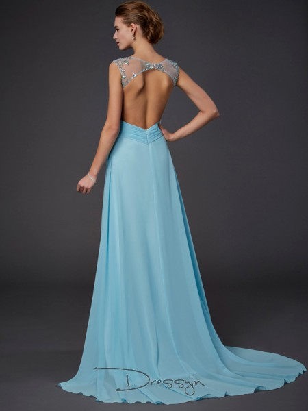 A-Line/Princess Sleeveless Scoop Beading Chiffon Long Dress