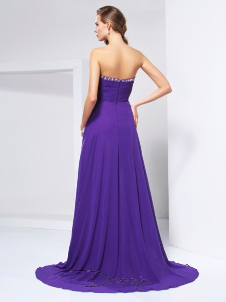 A-Line/Princess Sleeveless Sweetheart Beading Rhinestone Ruched Chiffon Long Dress