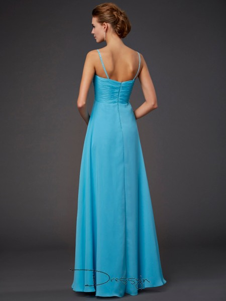 A-Line/Princess Sleeveless Spaghetti Straps Beading Chiffon Floor-Length Dress