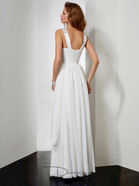 A-Line/Princess Sleeveless V-neck Rhinestone Chiffon Floor-Length Dress
