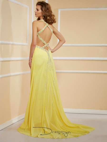 Sheath/Column Sleeveless Spaghetti Straps Beading Chiffon Floor-Length Dress,
