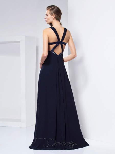 A-Line/Princess Sleeveless V-neck Ruffles Chiffon Floor-Length Dress