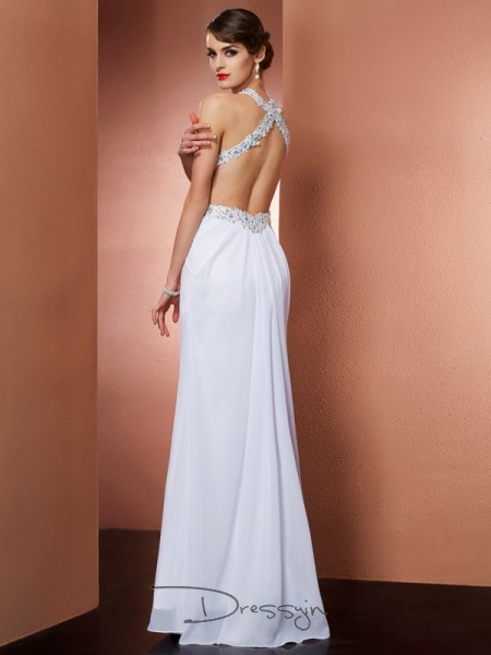 A-Line/Princess Sleeveless Halter Beading Applique Chiffon Floor-Length Dress