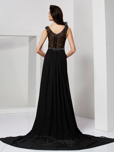 Sheath/Column Sleeveless Scoop Ruffles Beading Chiffon Long Dress