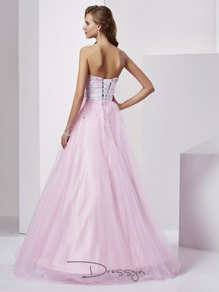 Ball Gown Sleeveless Strapless Sweetheart Beading Elastic Woven Satin Floor-Length Dress