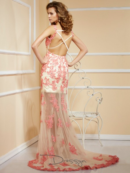 Sheath/Column Sleeveless Straps Applique Net Long Dress