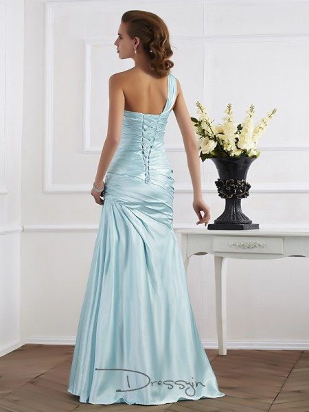 Trumpet/Mermaid Sleeveless One-Shoulder Ruched Elastic Woven Satin Floor-Length Dress