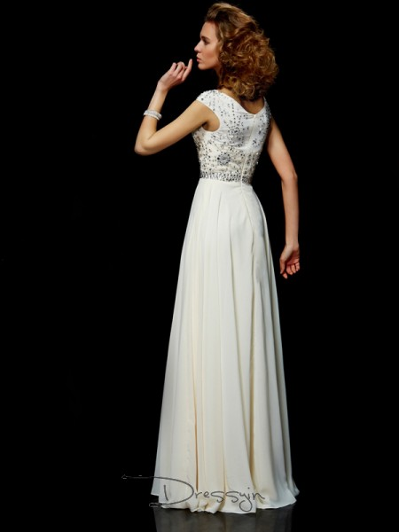 Ball Gown Short Sleeves High Neck Beading Chiffon Floor-Length Dress