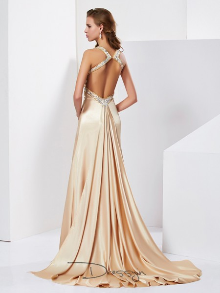 Sheath/Column Sleeveless Halter Ruffles Silk like Satin Long Dress