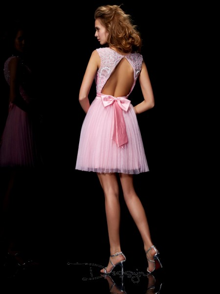 A-Line/Princess Sleeveless Scoop Beading Elastic Woven Satin Net Short Dress