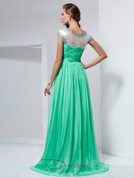 A-Line/Princess Short Sleeves High Neck Ruffles Beading Chiffon Floor-Length Dress