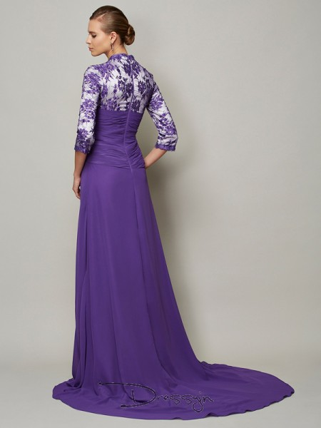 A-Line/Princess 1/2 Sleeves V-neck Beading Lace Chiffon Long Dress