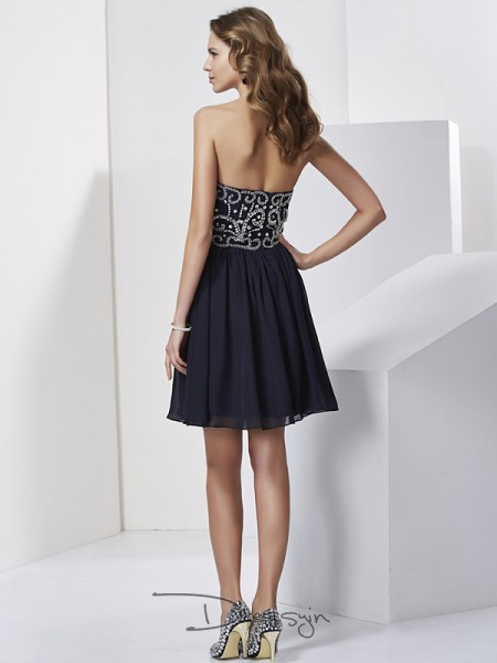 A-Line/Princess Sleeveless Sweetheart Beading Chiffon Short Dress
