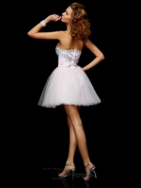 A-Line/Princess Sleeveless Sweetheart Beading Organza Short Dress