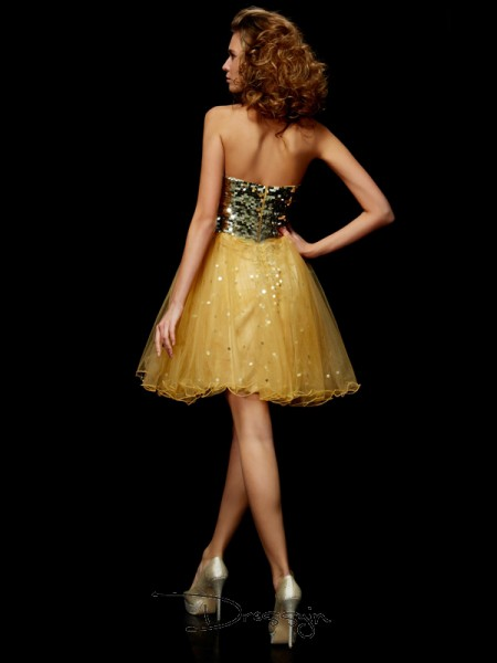 A-Line/Princess Sleeveless Sweetheart Paillette Tulle Short Dress