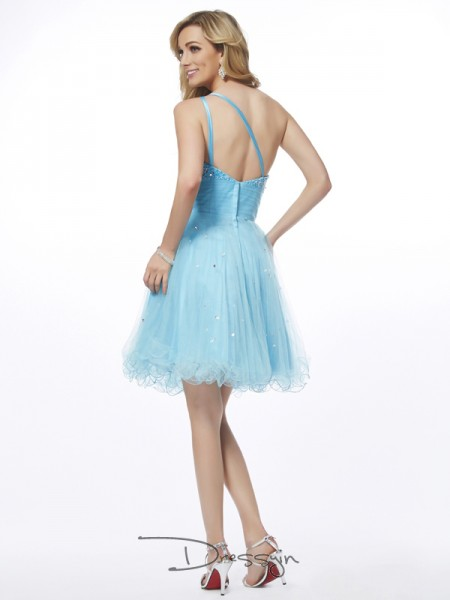 A-Line/Princess Sleeveless One-Shoulder Beading Organza Short Dress