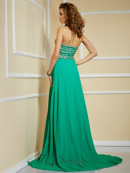 A-Line/Princess Sleeveless Strapless Rhinestone Chiffon Long Dress