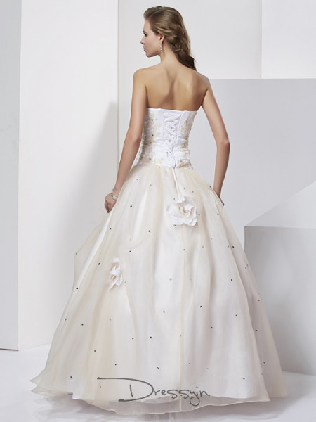 Ball Gown Sleeveless Sweetheart Hand-Made Flower Tulle Floor-Length Dress