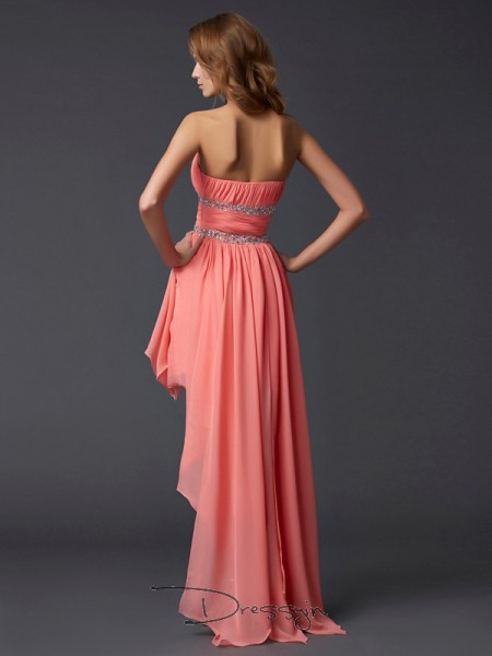 Empire Sleeveless Strapless Ruffles Chiffon Asymmetrical Dress