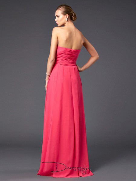 Sheath/Column Sleeveless Sweetheart Ruffles Chiffon Long Dress