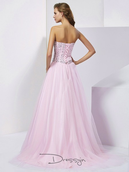 Ball Gown Sleeveless Sweetheart Beading Satin Floor-Length Dress